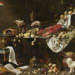 pronkstilleven met voedsel, dieren en muziekinstrumenten