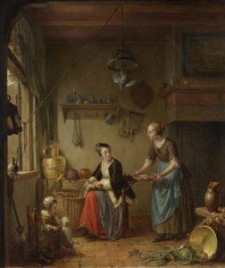 keukeninterieur met twee vrouwen en kind, paar eeuwen geleden