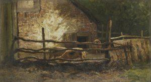 varkens bij een boerenstal met avondzon, schilderij