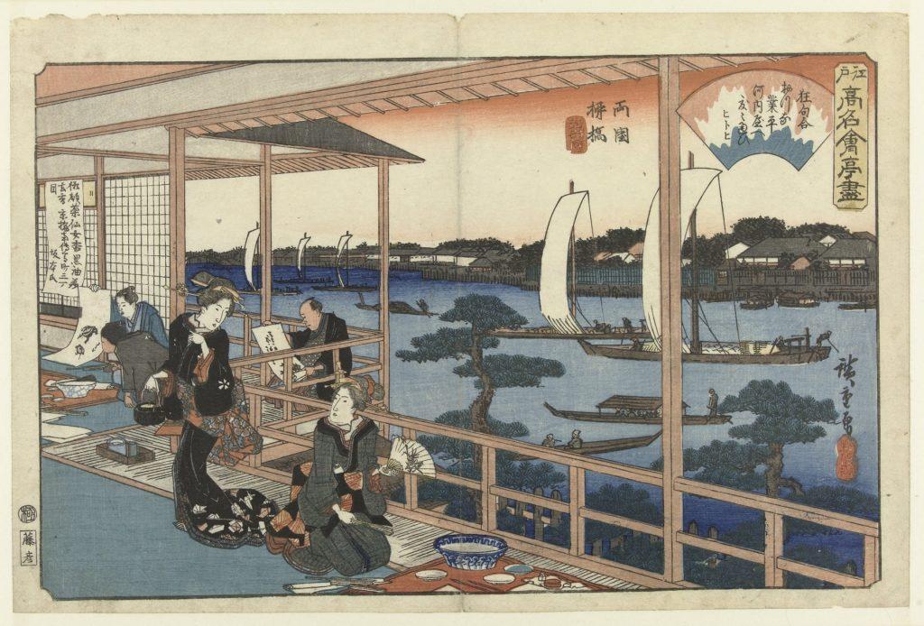 restaurant in de buitenlucht, Japan, prent van Japanse kunstenaar Hiroshige